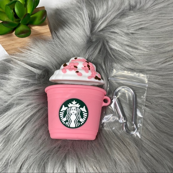 Accessories - AirPods 1/2 Silicone Cartoon Case Starbucks Pink
